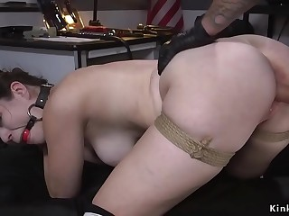 Brunette shoplifter fucked in bondage
