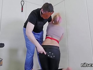 Spicy chick is taken in butt hole asylum for painful therapy