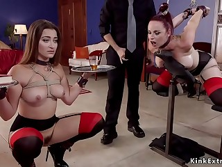 Lucky dude fucks trained slaves in bdsm