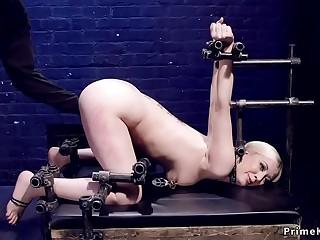 Blonde in device bondage gets zipper