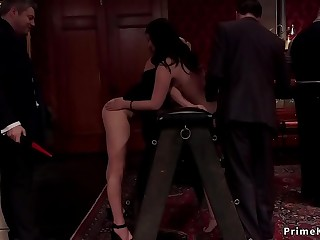 Babes spanking and fucking at soiree