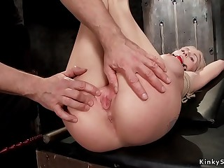 Big boobs hogtied blonde anal toyed