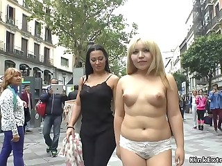 Ash-blonde slave naked crawl in public