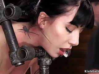 Alt slave in stock gets cunt fingered