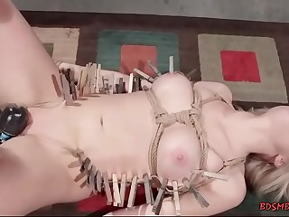 Lesbians enjoying bondage sex with shockingly