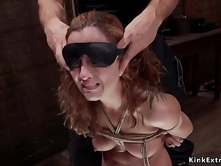 Brunette sub trainee flogged and caned