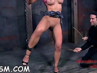 Lascivious brunette beauty too before she got fucked from behind