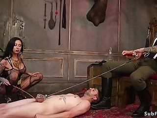Mistress makes slave suck cock in threesome