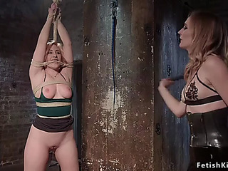 Hawt arse lezzie whipped in dungeon space