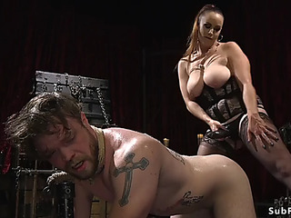Breasty mistresse paraffin wax and anal fuck masculine thrall