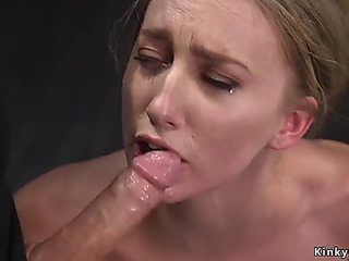 GoldenHaired coarse wet violate and anal invasion pounded in dungeon