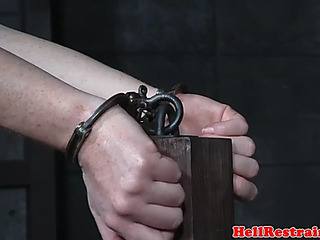Tattooed thrall bent over and vibrator screwed