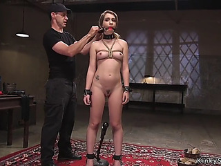 Ball-gagged thrall rails sex tool on a stick