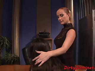 Mistress playgirl punishing fastened sub