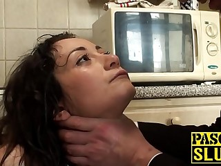 Slut dunks her head in water as she gets her big ass slapped