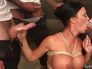 Huge tits Milf dp gangbang fucked