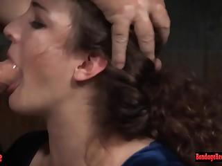 Cum covered bondage babe is throat fucked