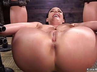 Strapped huge tits slut pussy fucked
