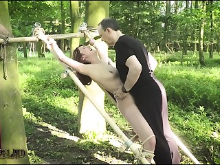 Teen amateur slave tied up outdoors has screaming orgasm and endures painful humiliation