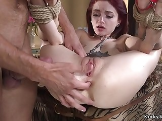 Guy anal fucks convenient wife in bdsm