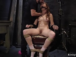 Brunette slave doggy fucked in bondage