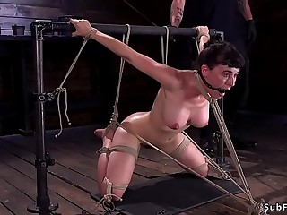 Busty gagged and blindfolded slave