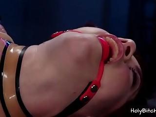 Two horny babes enjoying bondage lesbian sex