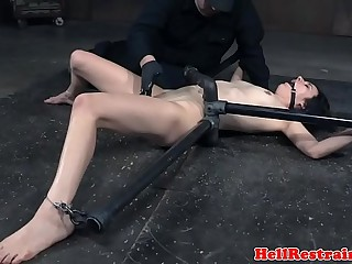 Slave getting fingered while restrained