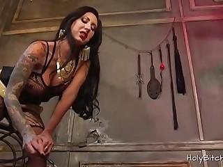 Busty babe enjoys bondage with two dudes