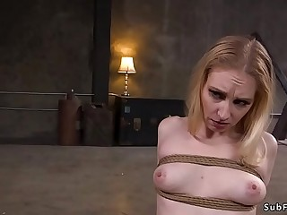 Pale slave takes huge dick in bondage
