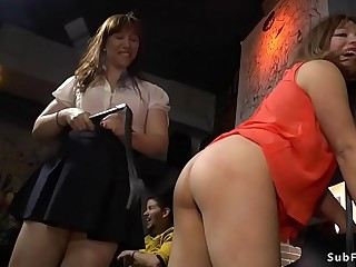 Petite asian takes huge dick in public