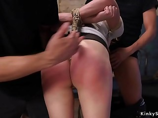 Brunette spanked and banged in threesome