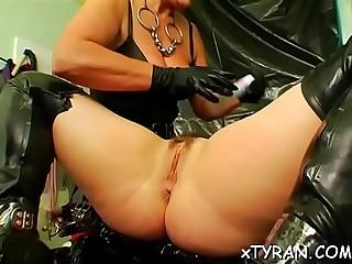 Babe bends over for flogging