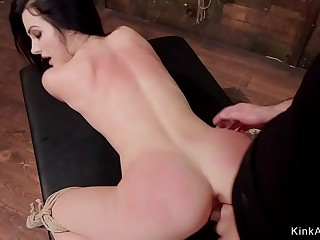 Petite brunette sub fucked with huge dick
