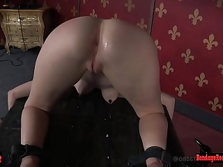 Dominated submissive flogged by master