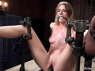 Babe trussed in device pierced pussy toyed