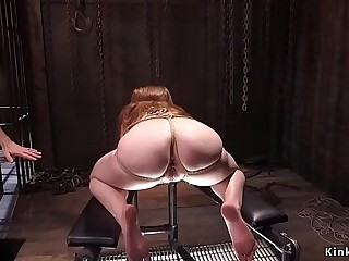 Busty trussed up brunette anal banged