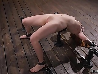 Natural busty redhead whipped in stock