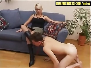 Femdom in Russia  boy licking ash-blonde mommy'_s boots