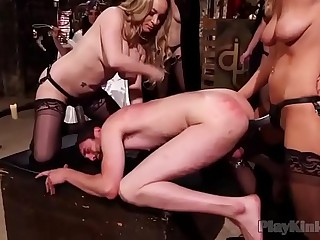 Group of busty babes fucking a horny dude
