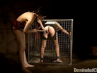 Caged honey dominated in threesome